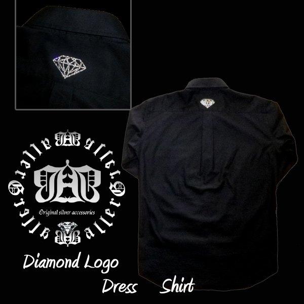 画像2: スワロフスキー ドレスシャツ スワロシャツ ダイヤモンド ブラック