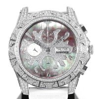 Tiret Newyork Automatic Chronograph 100 Black MOP Splash All Diamond New Rubber & Buckle