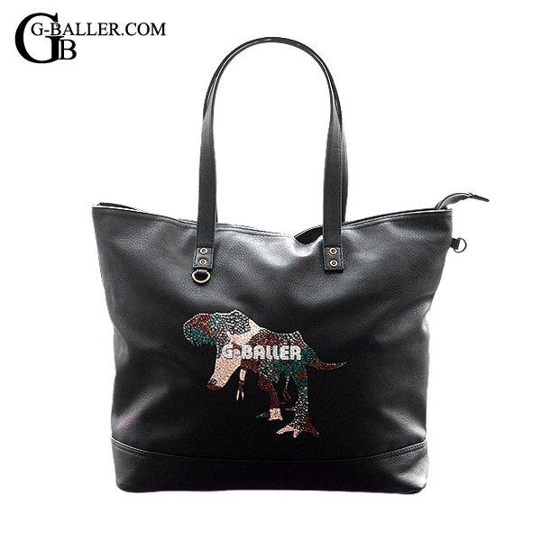 レザートートバッグにT-REXがデザインされたスワロバッグです。
