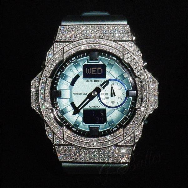 画像1: GA150 フルコンプリートモデル ブルー×ホワイト カスタム,フルセット販売!!ウブロ メンズ腕時計