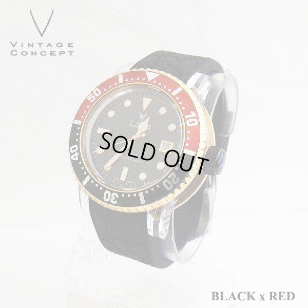 画像2: ヴィンテージコンセプト VINTAGE CONCEPT 時計 V3AL ブラック x レッド 希少 ブランド腕時計