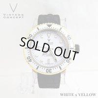 ヴィンテージコンセプト VINTAGE CONCEPT 時計 V3AL ホワイト x イエロー 希少 ブランド腕時計