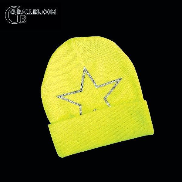 スターロゴ ネオンイエローニット帽