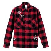 チェックシャツ 赤 黒 スワロフスキー BUONA SERA