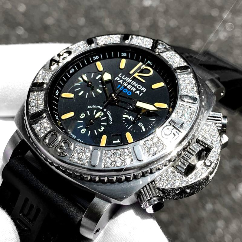 パネライ時計へのアフターダイヤ加工を致します。