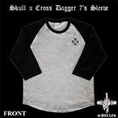 人気のロングスリーブ ラグランTシャツにクロスをプリントした人気Tシャツ