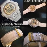 GMN691ユニセックスモデルに、ホワイトクロコレザーベルトとカスタムパーツを組み合わせた高級G-SHOCKカスタム