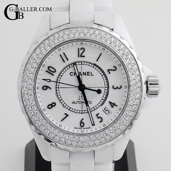 4f3cc25f4384 シャネルJ12 ダイヤモンド 38mm 白 メンズ CHANEL時計 中古 美品