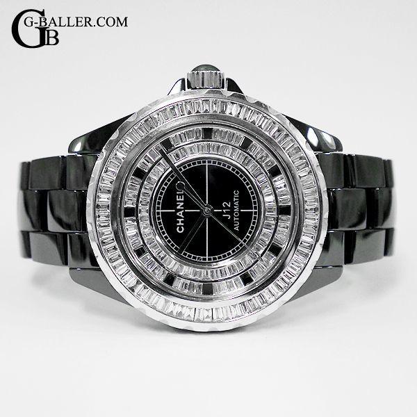 11b4a38c0169 J12 42mm ダイヤモンド ブラック 自動巻き · J12 42mm フルダイヤ 黒 メンズ オート · J12のベゼル、文字盤全てがバケットダイヤ  ...