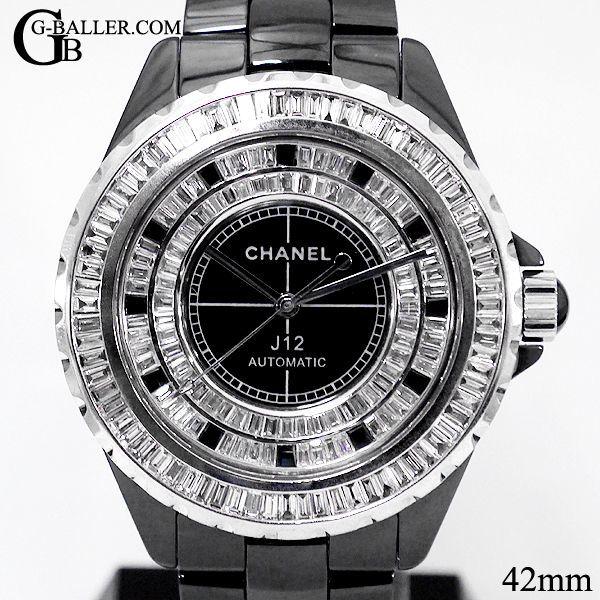 64deb5a50b80 シャネルJ12 42mm バゲットダイヤモンド · J12 42mm ダイヤモンド ブラック 自動巻き · J12 42mm フルダイヤ 黒 メンズ  オート · J12のベゼル、文字盤 ...